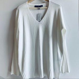 French Connection I Softest White V-Neck Sweater
